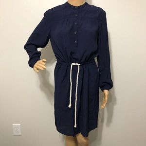 J Crew Navy Nautical Rope Waist Tie Dress Size XS